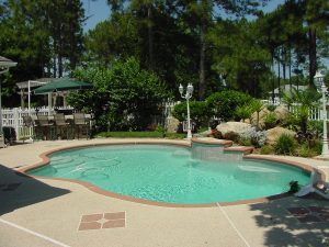 pool with landscape